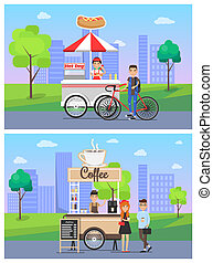 Coffee and Hot Dog Shops Set Vector Illustration