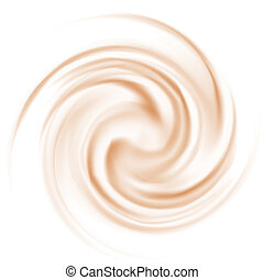 Coffee and milk curl texture on white background