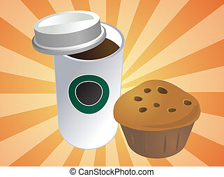 Coffee and muffin - Coffe in disposable cup with muffin ...