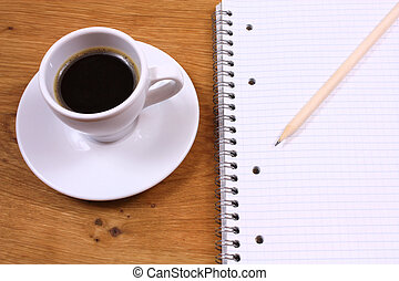 Coffee and note book