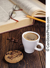 Coffee and old book