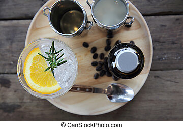 Coffee and orange mix on wood background