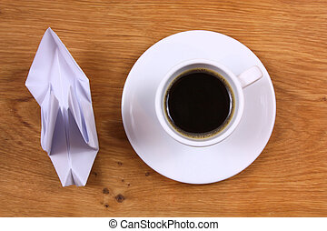 Coffee and paper bird