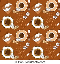Coffee and pastry seamless pattern.
