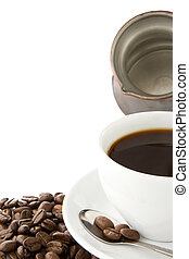 coffee and pot with beans isolated on white