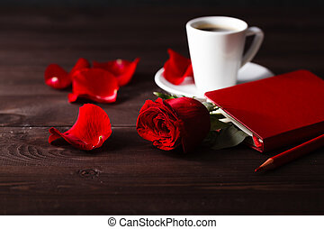 Coffee and red roses for Valentine's day