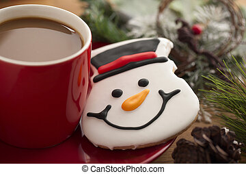 coffee and snowman cookie