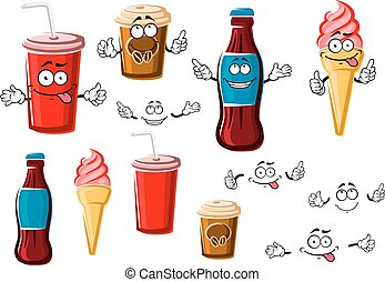 Coffee and soda cups, drink and ice cream