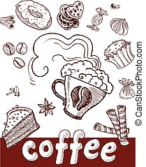 coffee and sweets.Hand drawing