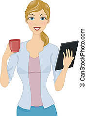 Coffee and Tablet Girl - Illustration of a Woman Holding a...