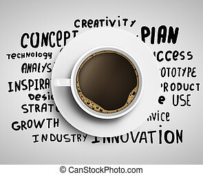 coffee and tags - Cup of coffee on background of business ...