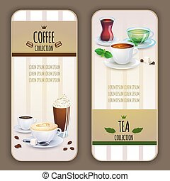 Coffee and tea collection labels.