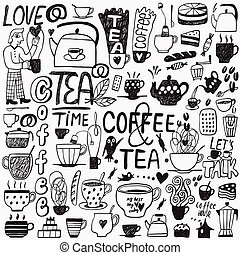 coffee and tea cups doodles