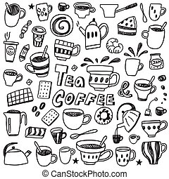 coffee and tea cups  - doodles set