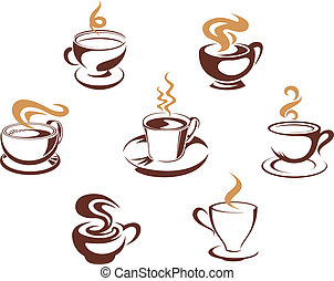 Coffee and tea cups for morning breakfast concept design