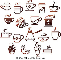 Coffee and tea cups set. Vector icons collection