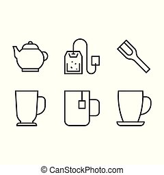 Coffee and Tea icon set, outline icon such as mug, cup, scoop, tea bag, tea pot