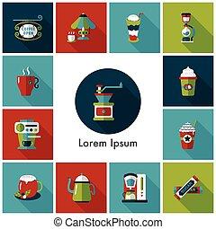 Coffee and tea icon set