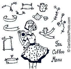 Coffee and tea icons - hand drawn graphics, frames, decorations