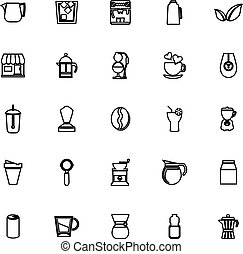Coffee and tea line icons on white background