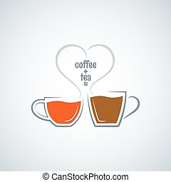 coffee and tea love concept vector background
