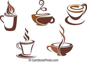 Coffee and tea symbols and icons for food design
