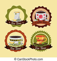 coffee and tea time set cups flowers decoration labels