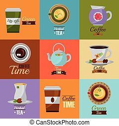 coffee and tea time set teapot coffee maker cups vector...
