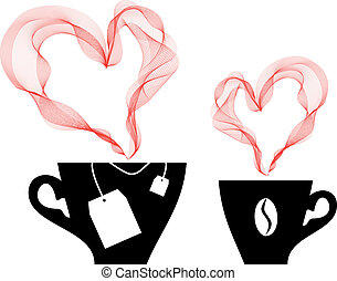 coffee and tea, vector - coffee and tea with heart steaming,...