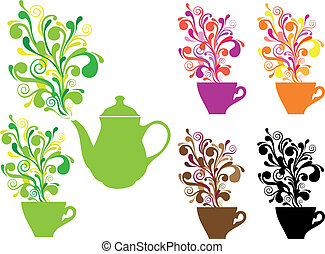 coffee and tea with swirls, vector - coffee and tea cups...