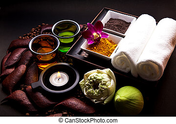 Coffee and Turmeric Scrub for beauty treatment in spa.