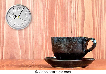 Coffee and wall clock