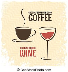 coffee and wine logo design vintage background