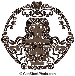 coffee antique vignette with beautiful woman silhouette in circle