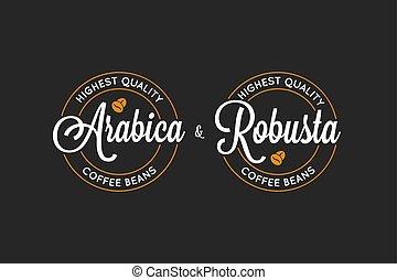 coffee Arabica and Robusta logo on black background 8 eps