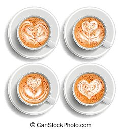 Coffee Art Cup Set Vector. Herat. Top View. Hot Cappuchino Coffee. Fast Food Cup Beverage. White Mug. Realistic Isolated Illustration