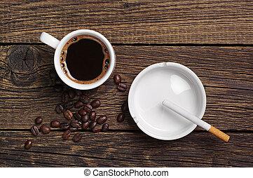 Coffee, ashtray and cigarette