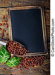 coffee background - coffee and chalk board on a table