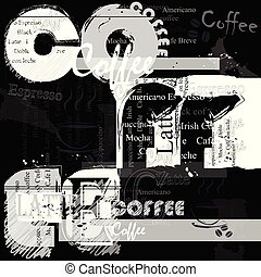 Coffee background. Fashion poster.