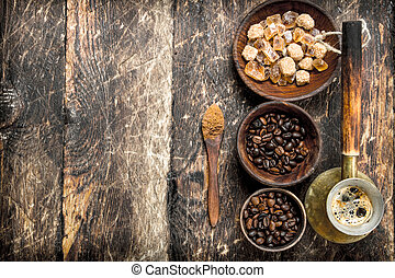 Coffee background. Fresh coffee with beans.