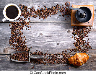 Coffee background making frame shape