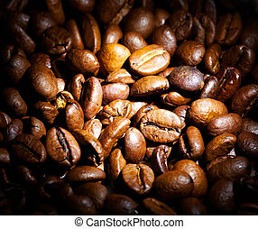 Coffee background. Roasted coffee seeds