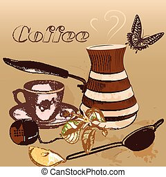 Coffee background with cup of coffe