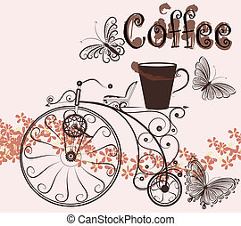 Coffee background with swirl old-fashioned bicycle and...