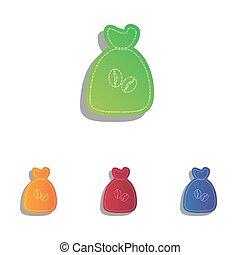 Coffee bag Icon. Coffee bag Vector. Coffee bag Icon Button. Colorfull applique icons set.