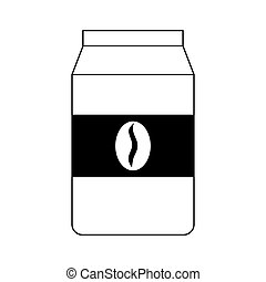 Ground Coffee Bag Vintage Vector Icon Outline