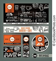 Coffee Bakery shop cafe set menu design template - Coffee...