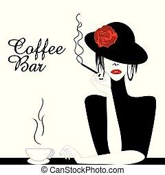 Coffee Bar Illustration with woman smoking cigarette
