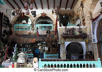 Coffee bar, Sousse, Tunisia - Interior of Arabic coffee bar,...
