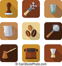 flat design coffee barista equipment icons set